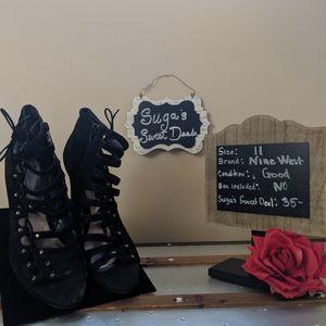 Nine West leather cage heel sz11